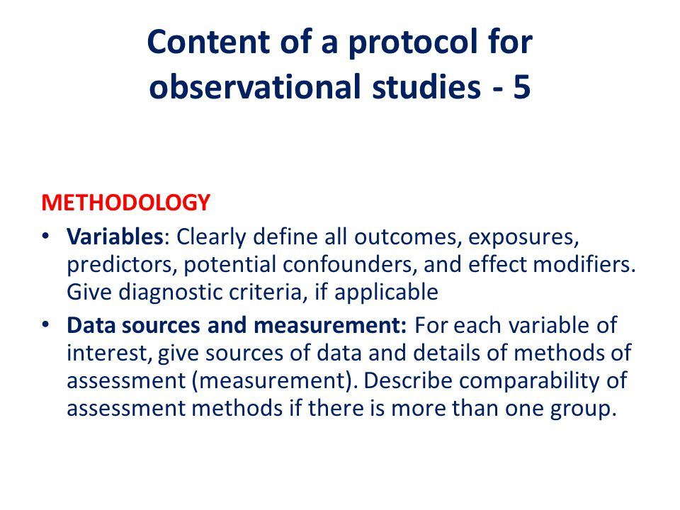 Content of a protocol for observational studies - 5
