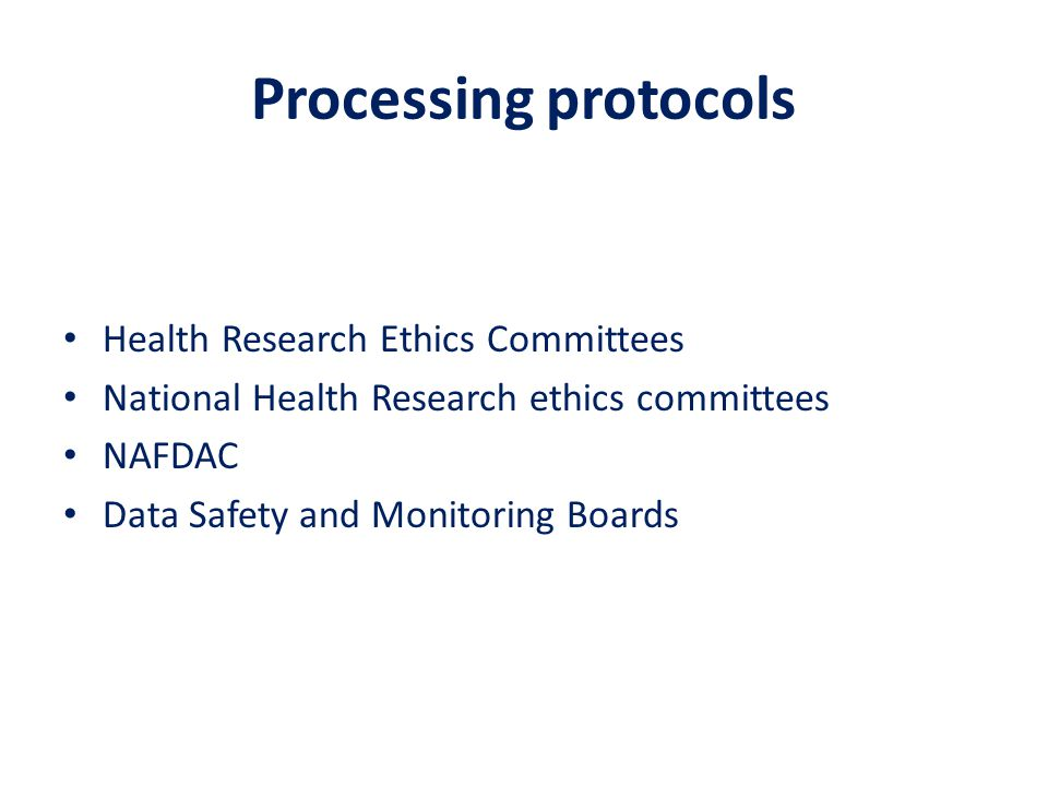 Processing protocols Health Research Ethics Committees