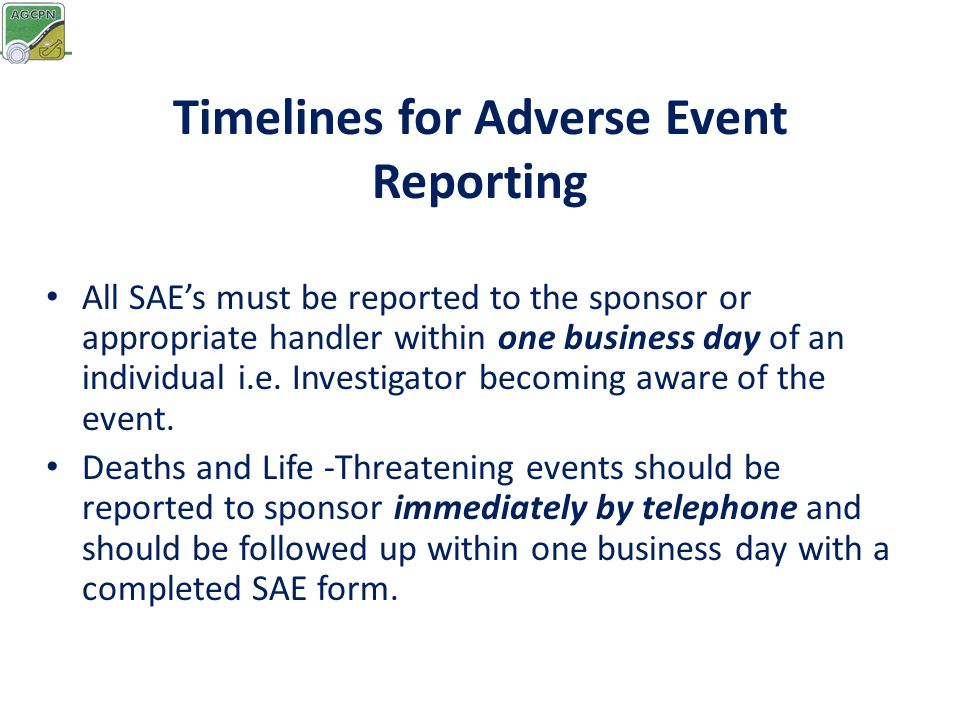 Timelines for Adverse Event Reporting