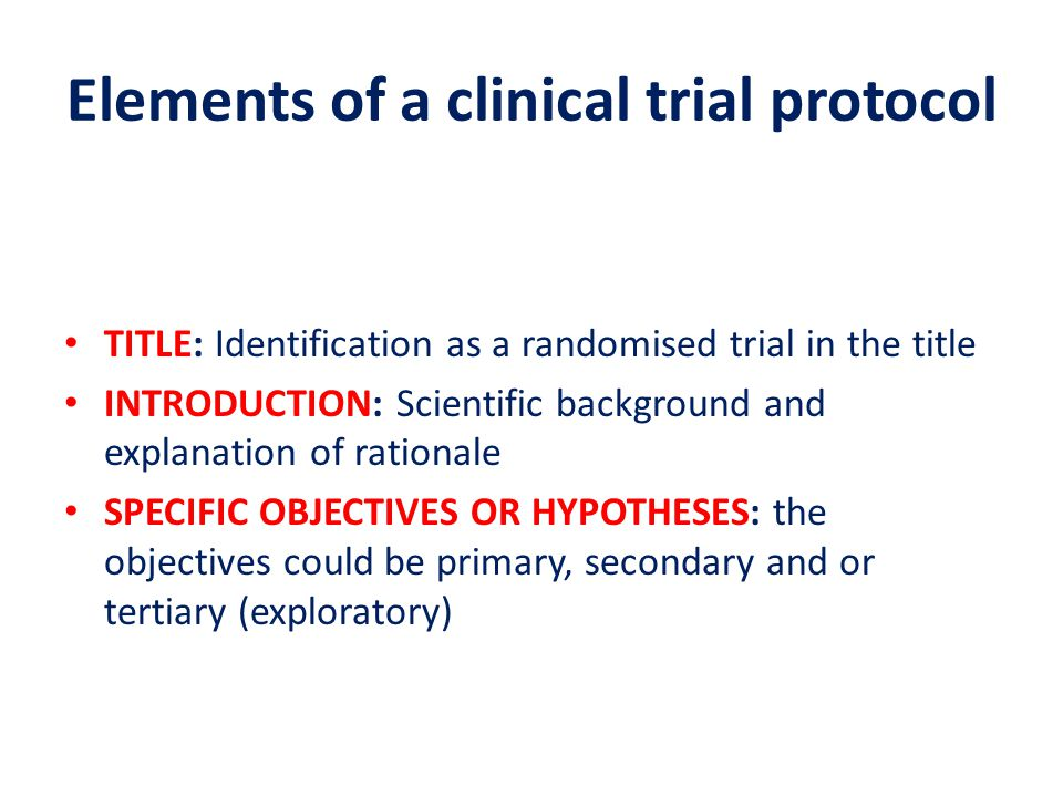 Elements of a clinical trial protocol