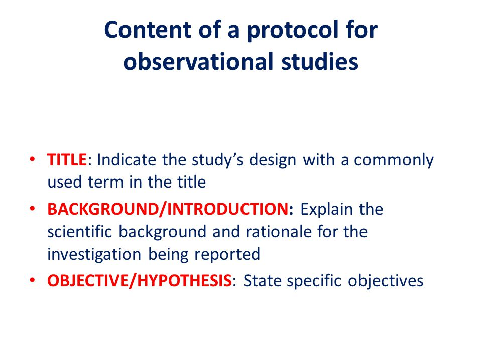 Content of a protocol for observational studies