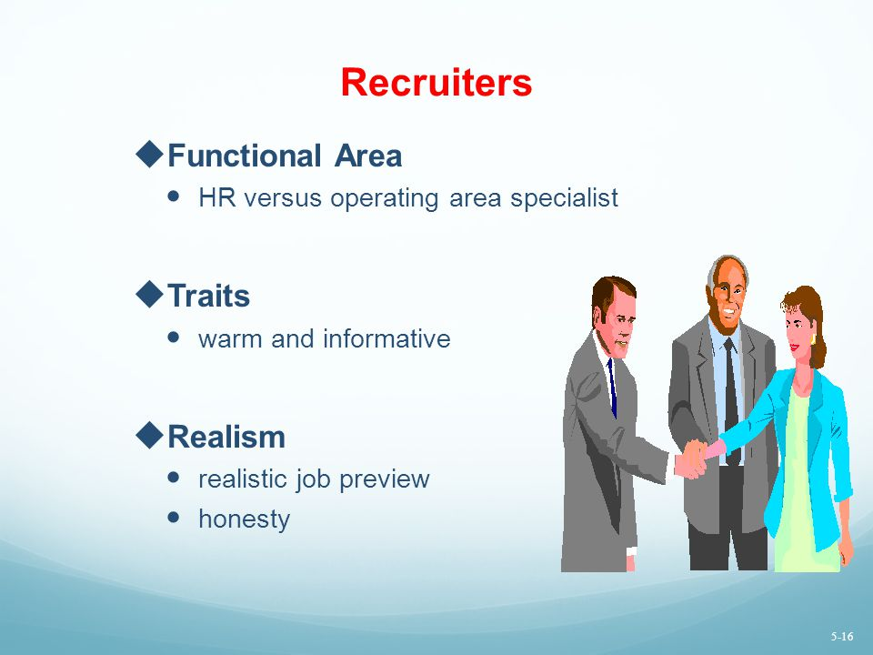Recruiters Functional Area Traits Realism