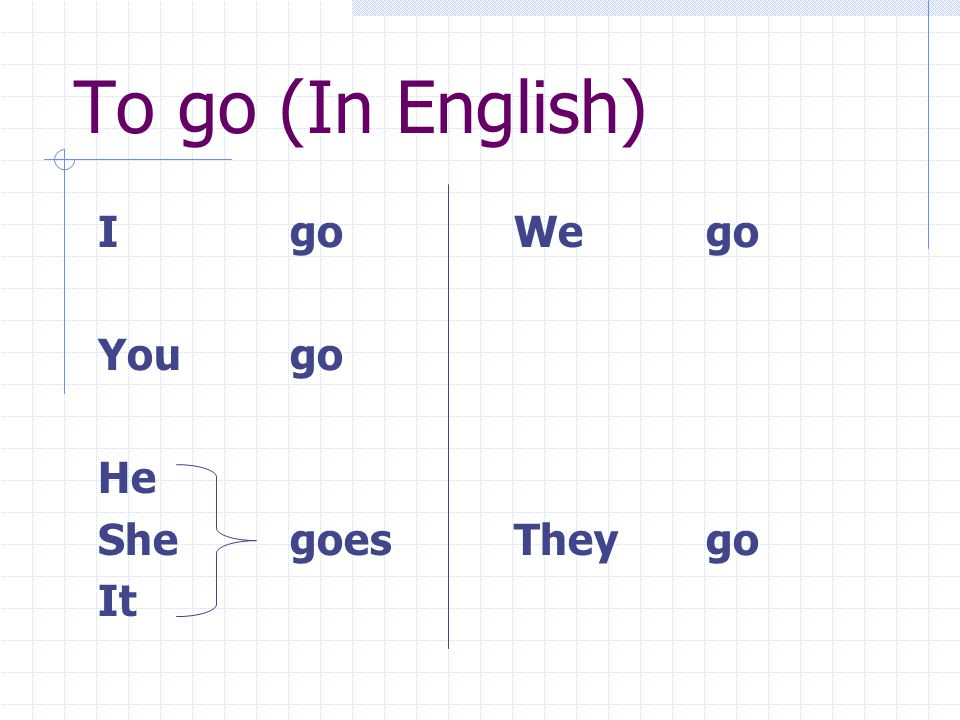To go (In English) I go You go He She goes It We go They go