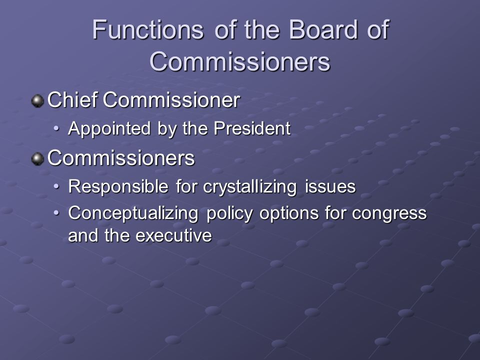 Functions of the Board of Commissioners