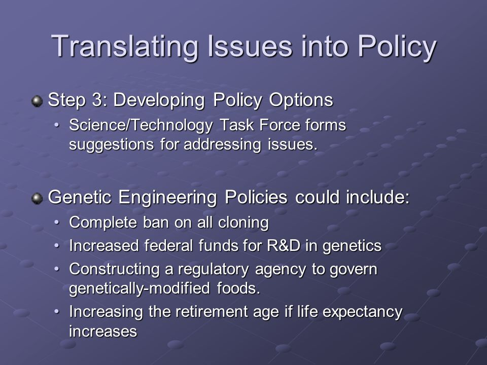 Translating Issues into Policy