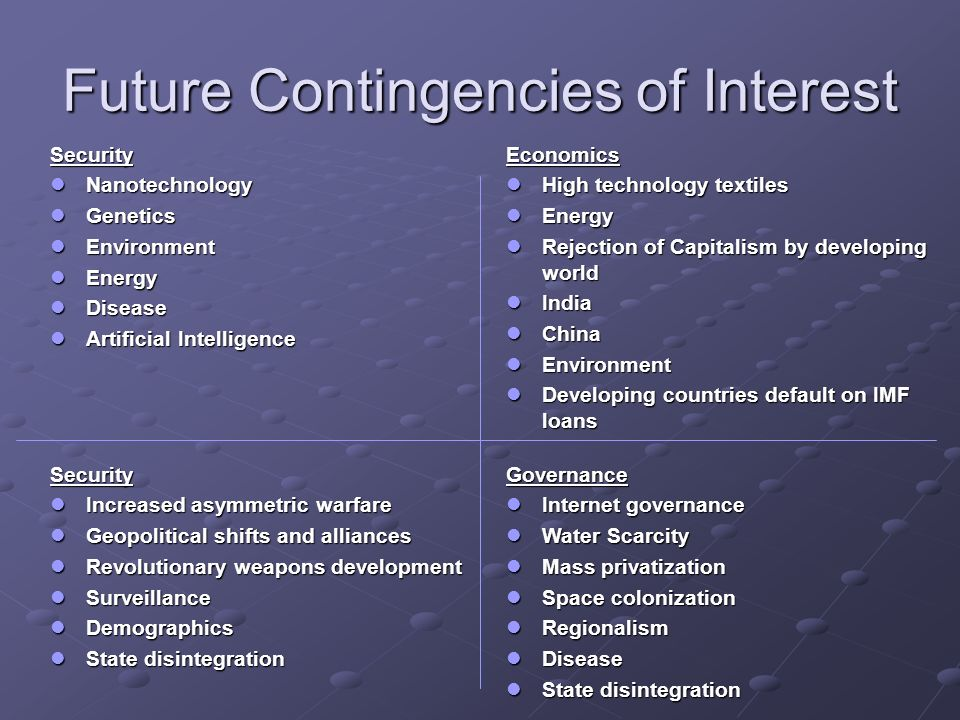 Future Contingencies of Interest