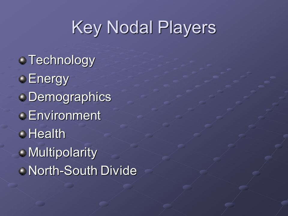 Key Nodal Players Technology Energy Demographics Environment Health