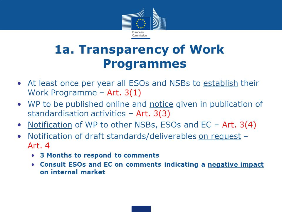 1a. Transparency of Work Programmes