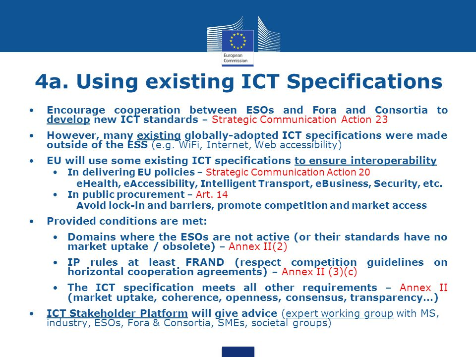 4a. Using existing ICT Specifications