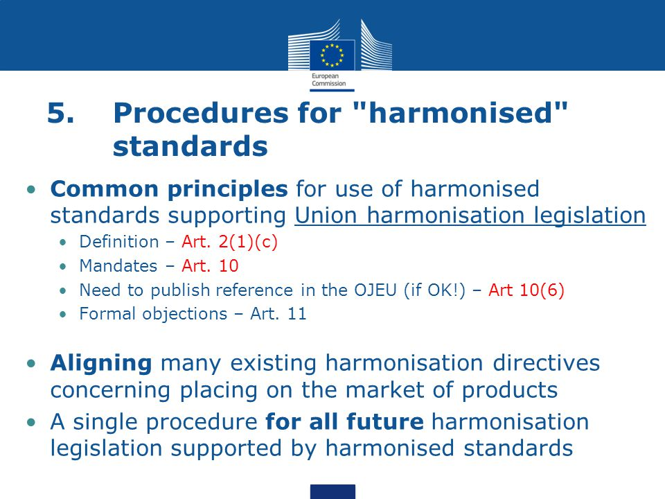 5. Procedures for harmonised standards