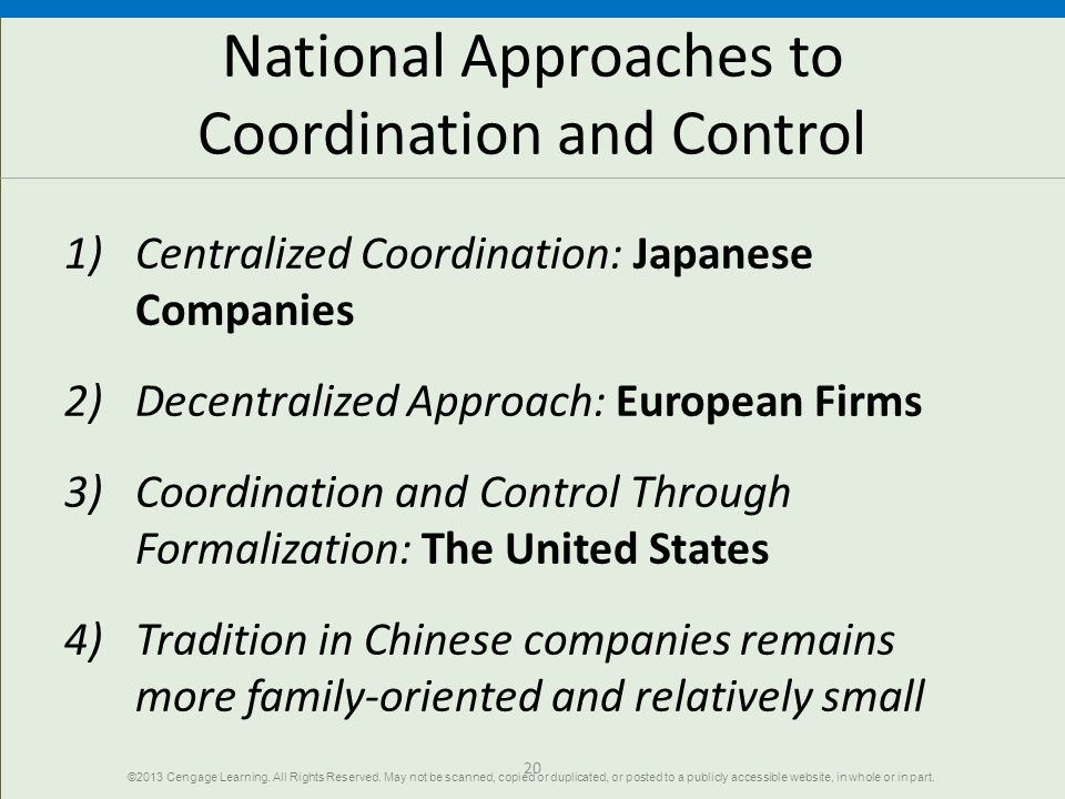 National Approaches to Coordination and Control
