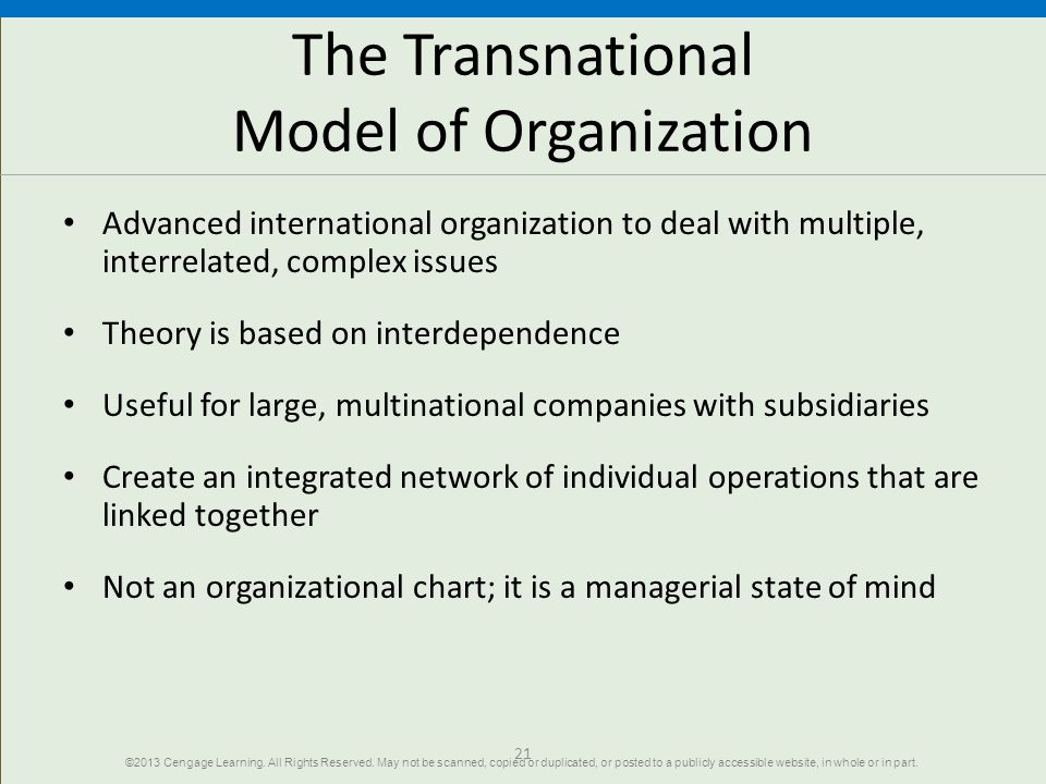 The Transnational Model of Organization