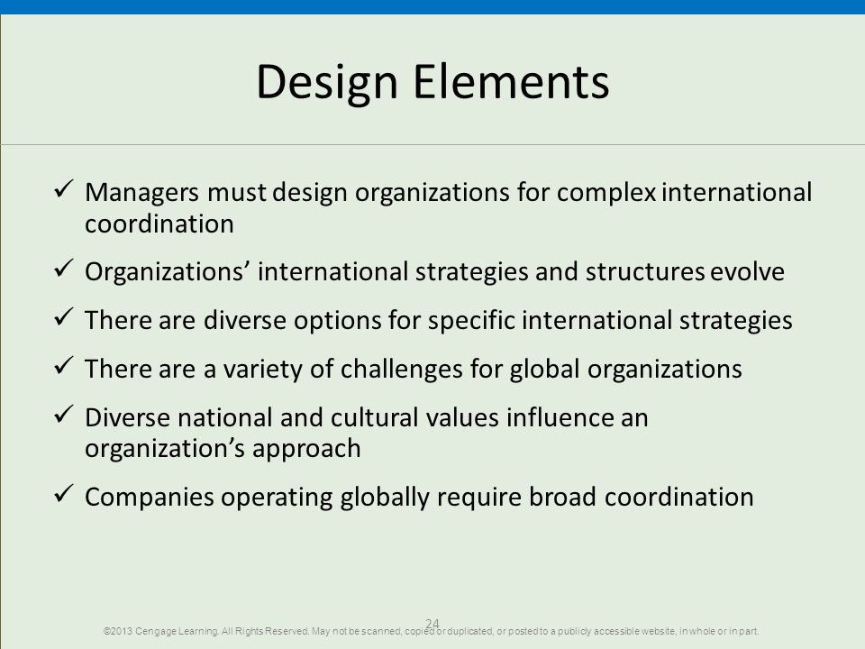 Design Elements Managers must design organizations for complex international coordination.