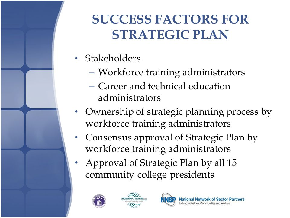 SUCCESS FACTORS FOR STRATEGIC PLAN