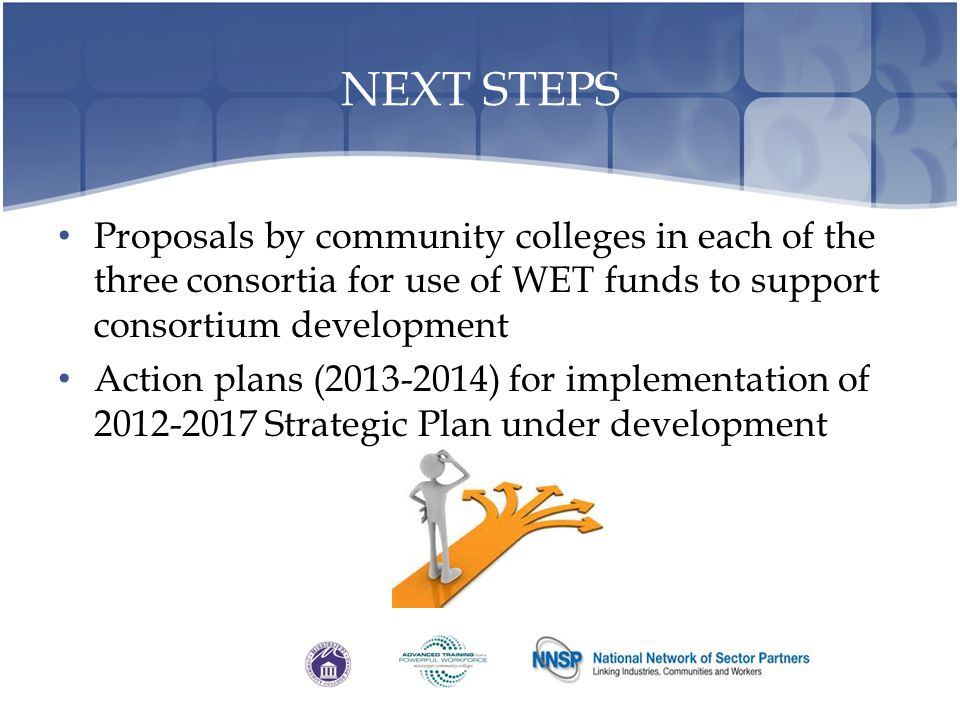 NEXT STEPS Proposals by community colleges in each of the three consortia for use of WET funds to support consortium development.