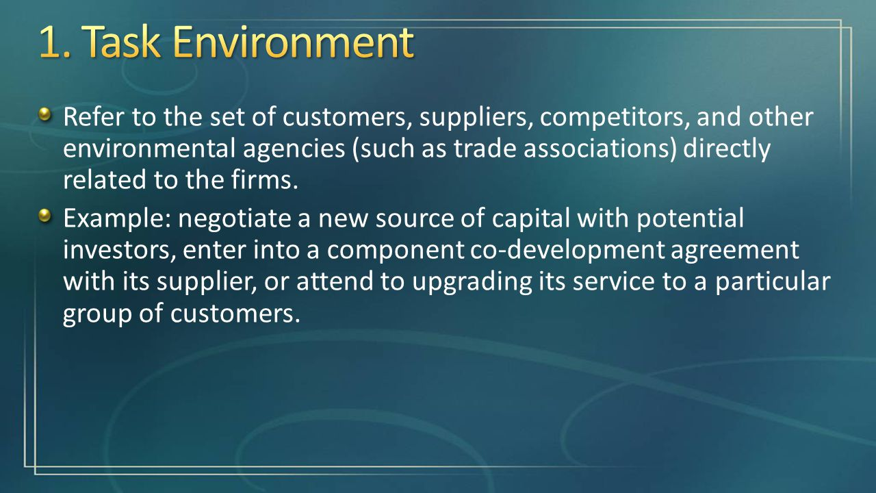 task environment The role of the task environment  on performance outcomes, and whether  such an interaction differs for more or less exploratory tasks.