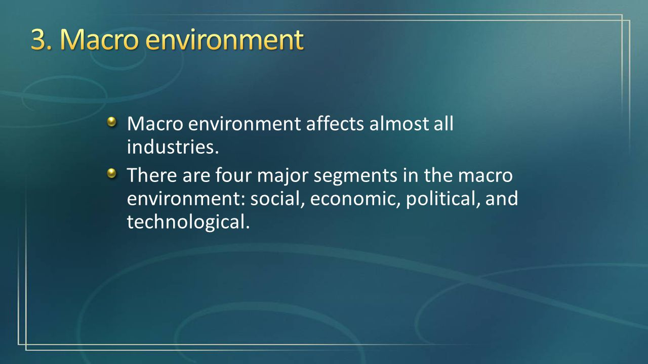 macro environmental analysis of global fast food industry Pestle analysis of starbucks discusses how external factors have affected business global warming and other environmental issues in a global level the key reason behind this might be because it operates in the food and beverages industry.