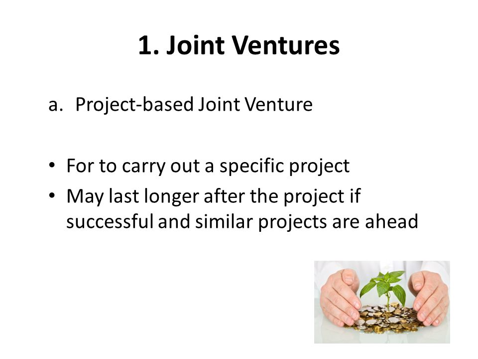 the joint venture project essay Furthermore, joint-venture (jv) project participation and university participation in a project both appear to have a positive impact on firm patenting the amount of funding received by the firm is crucial for single participants, with the positive impact concentrated in those firms with large grants single participants are more.