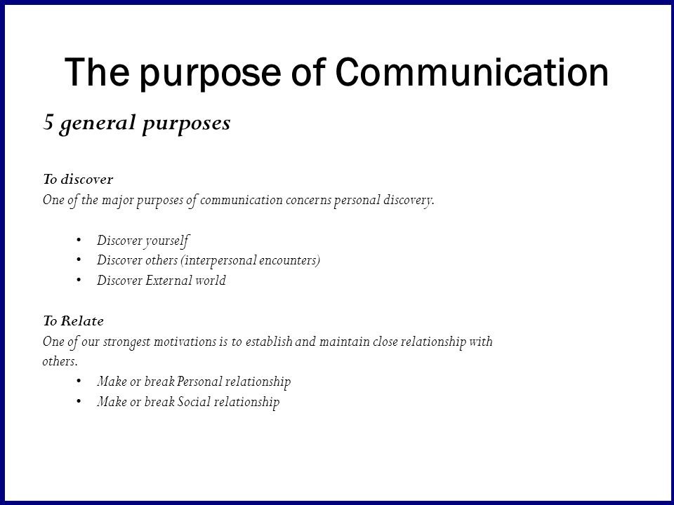 purpose of interpersonal communication pdf