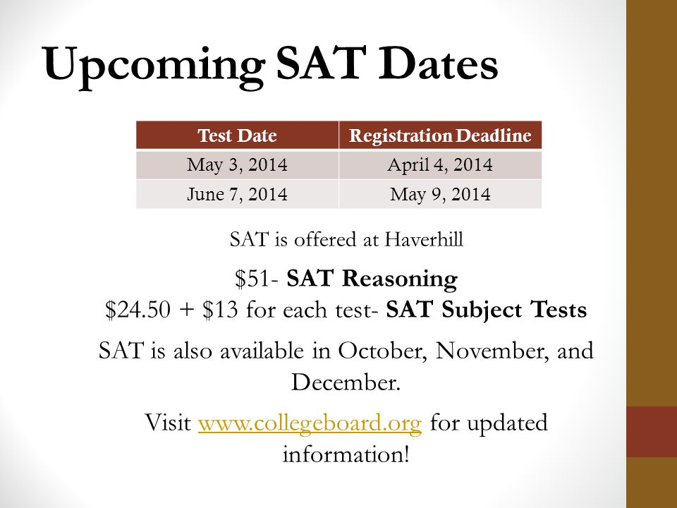 Sat subject test dates in Perth