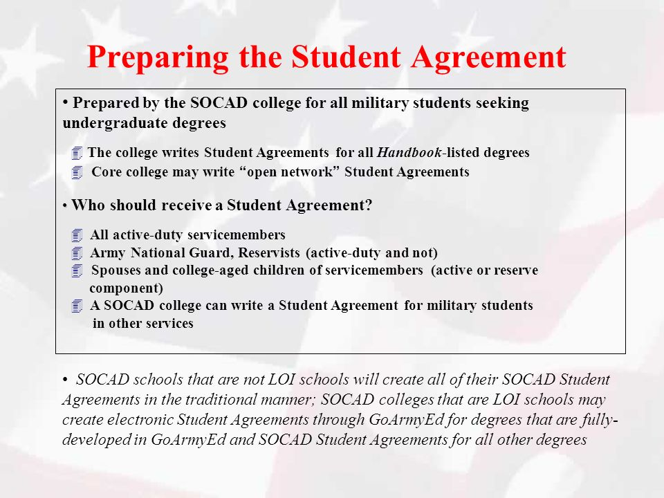 Preparing the Student Agreement