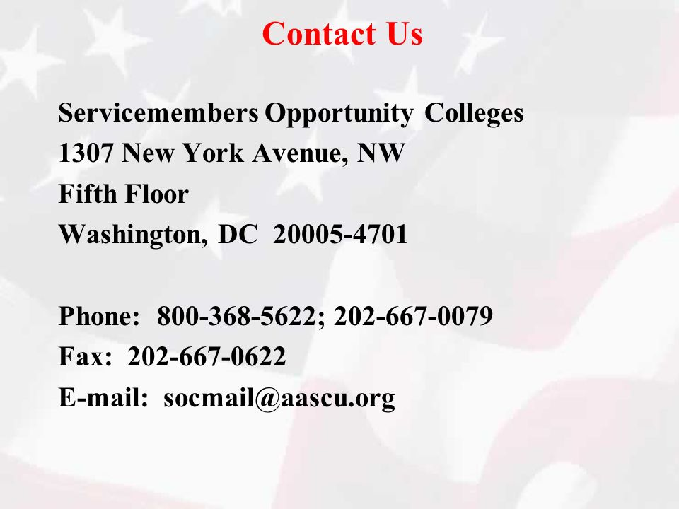 Contact Us Servicemembers Opportunity Colleges