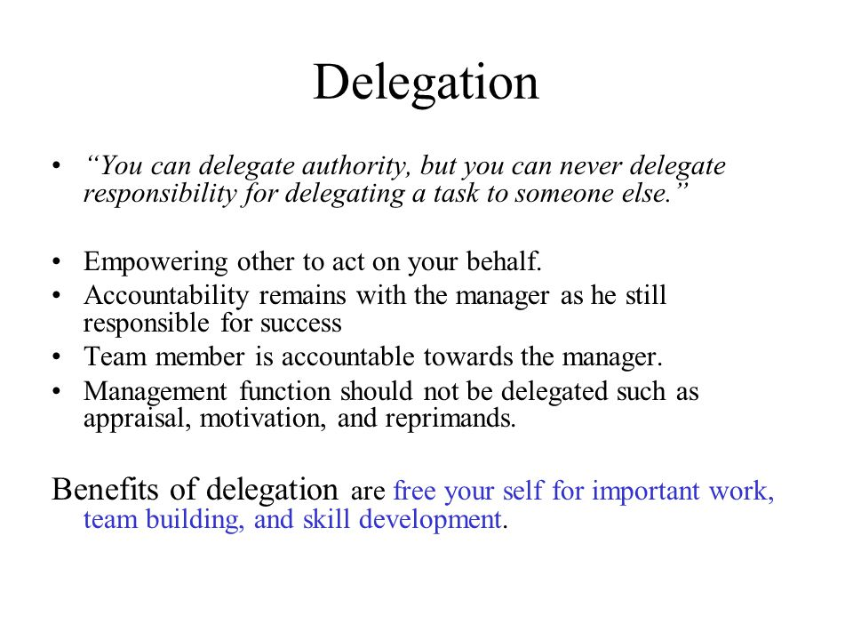 developing your empowering people delegating skill This instrument is designed to help you discover your level of competency in empowering and delegating so you can tailor your i help people to develop personal mastery in their work by empowering and delegating exercises taken from developing management skills by david a.
