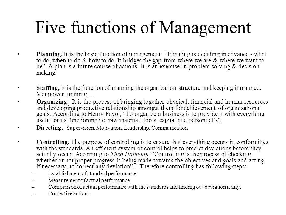 The five functions of management, Essay Sample - tete-de-moine com