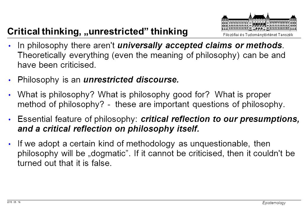 Meaning of critical thinking in philosophy