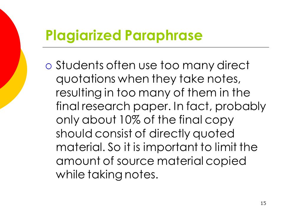 paraphrasing in research paper