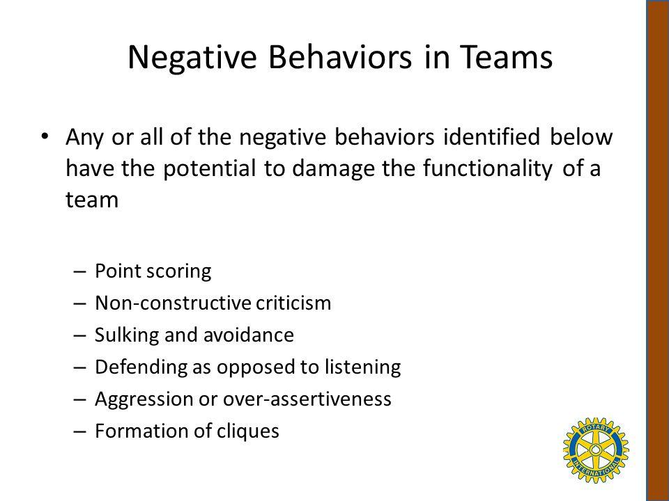 Negative Behaviors in Teams
