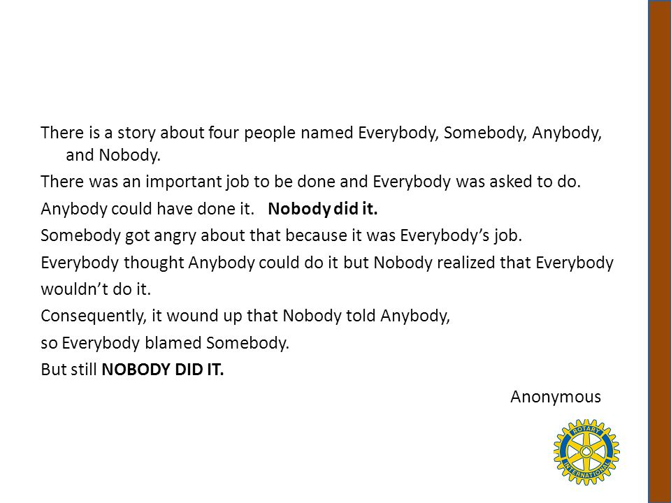 There is a story about four people named Everybody, Somebody, Anybody, and Nobody.