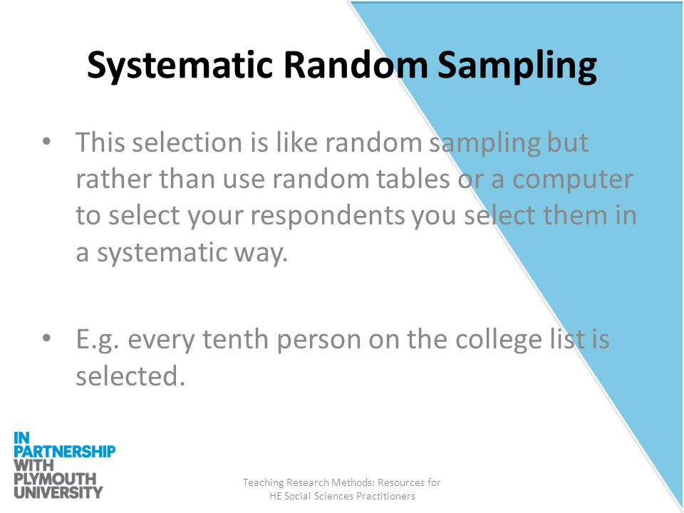 sampling in social research In systematic sampling every nth member of population is selected to be included in the study systematic sampling requires an approximated.