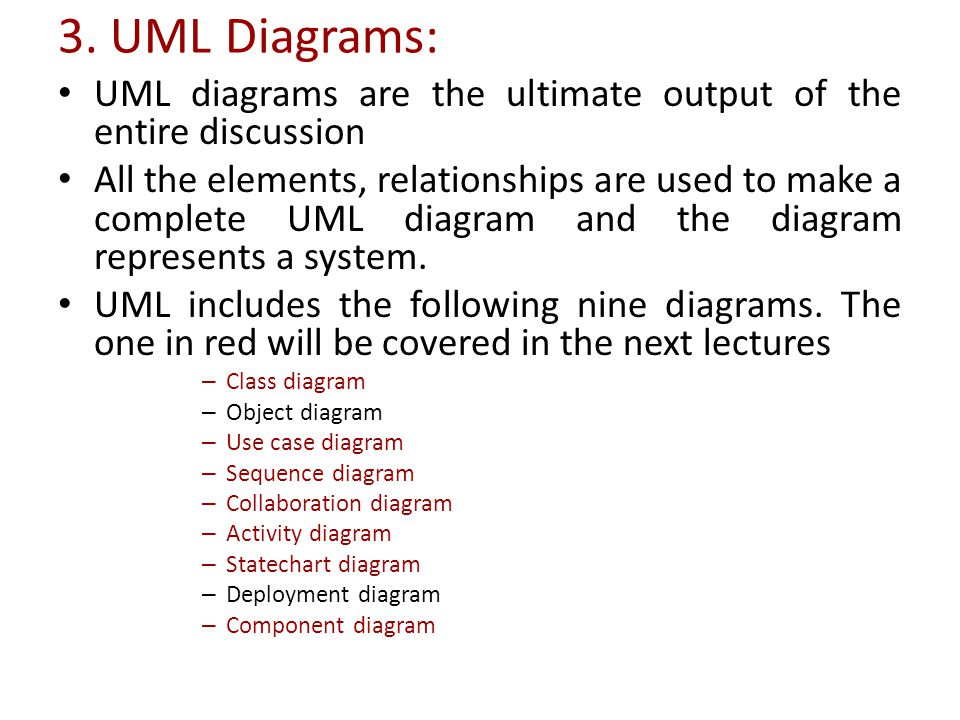 3. UML Diagrams: UML diagrams are the ultimate output of the entire discussion.
