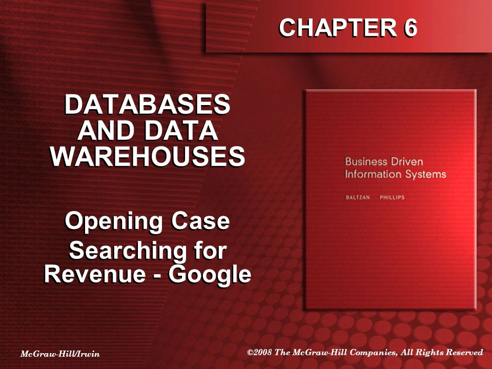 DATABASES AND DATA WAREHOUSES Searching for Revenue - Google