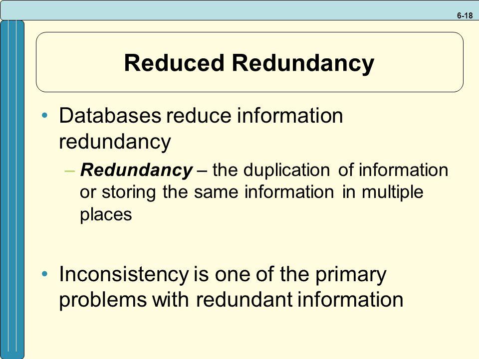 Reduced Redundancy Databases reduce information redundancy