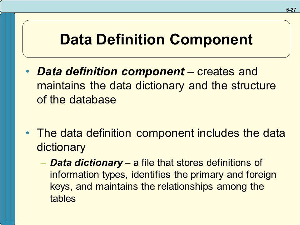 Data Definition Component