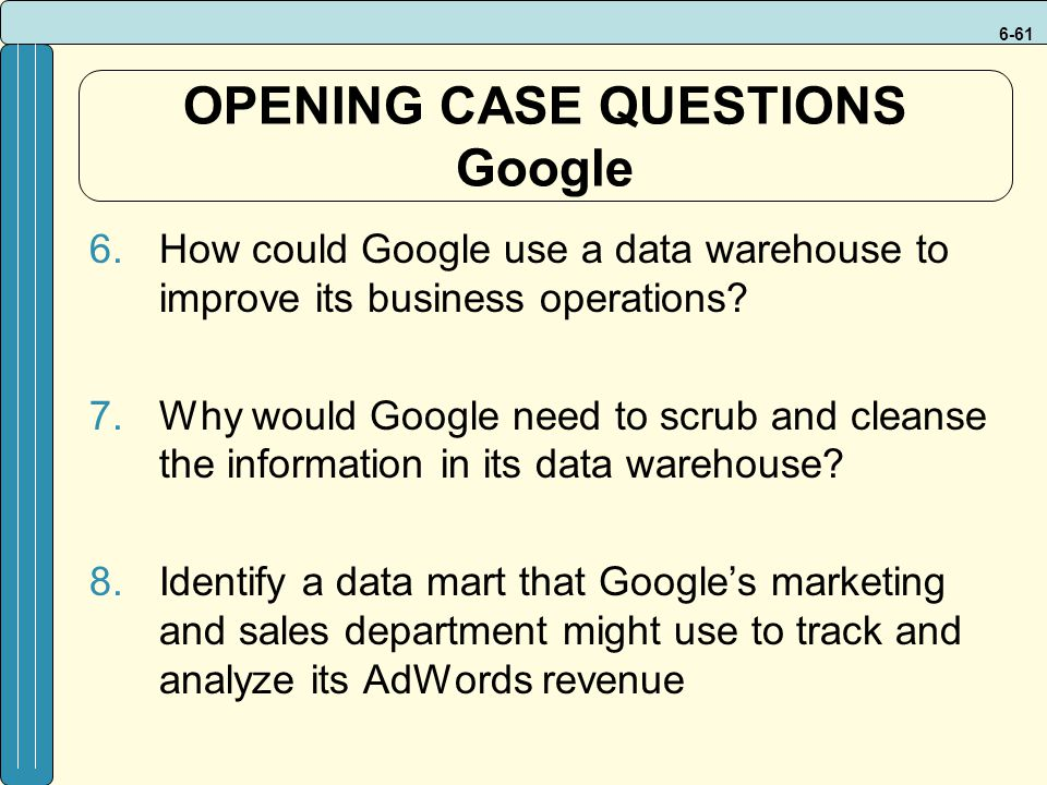 OPENING CASE QUESTIONS Google