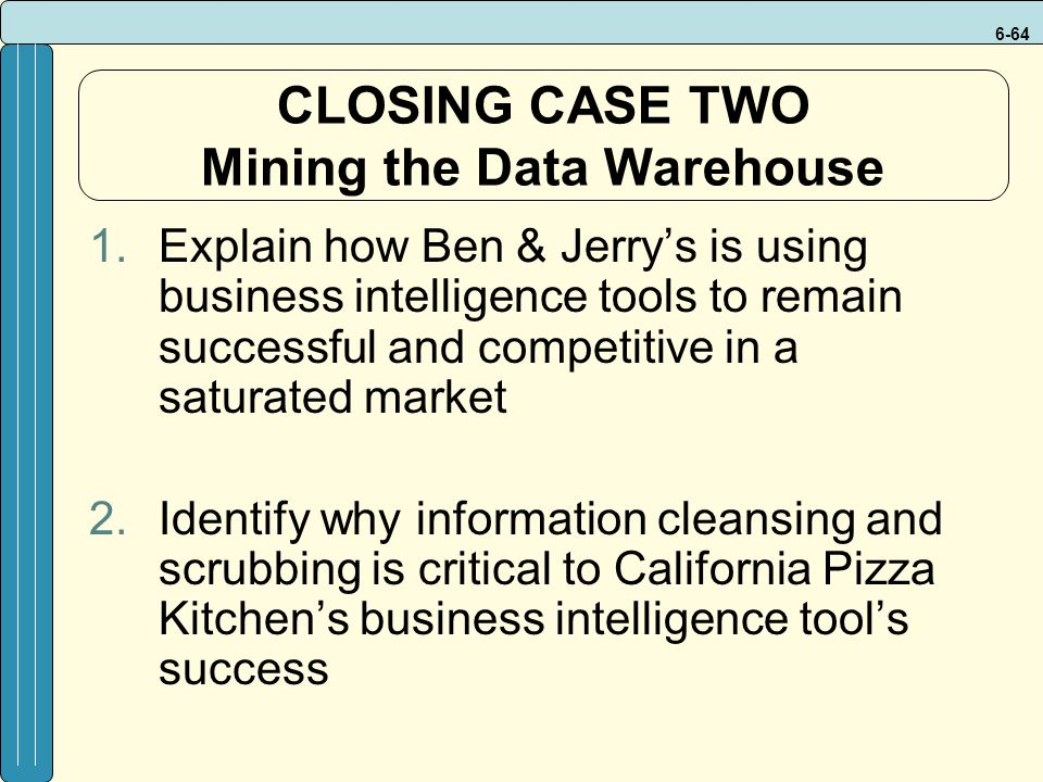 CLOSING CASE TWO Mining the Data Warehouse
