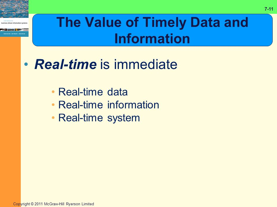 The Value of Timely Data and Information
