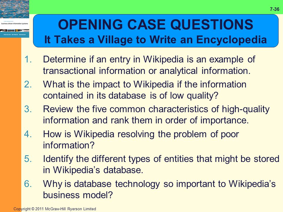 OPENING CASE QUESTIONS It Takes a Village to Write an Encyclopedia