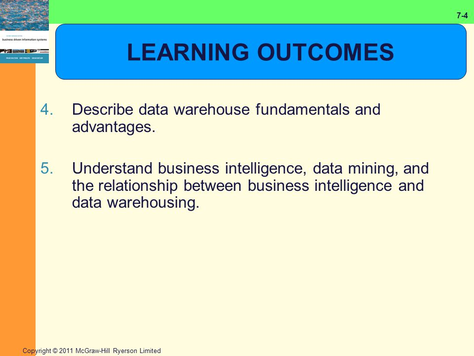 LEARNING OUTCOMES Describe data warehouse fundamentals and advantages.