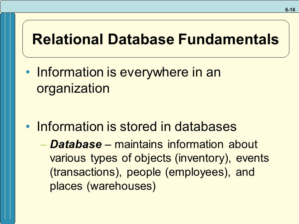 Relational Database Fundamentals