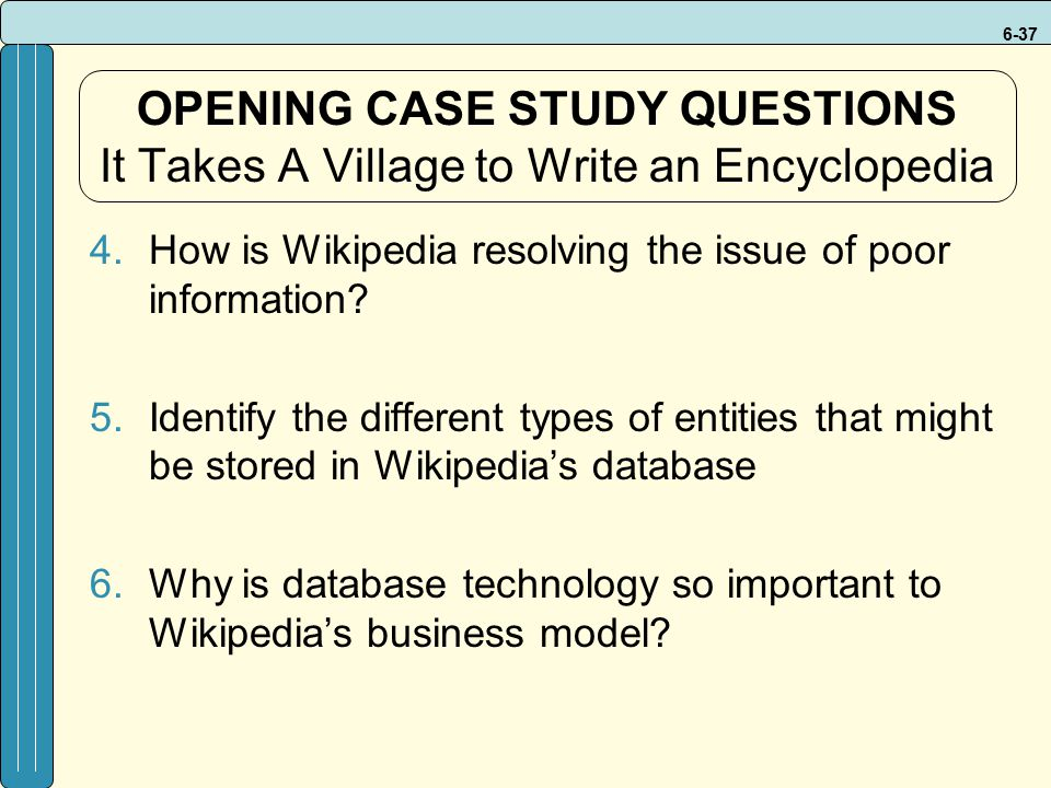 OPENING CASE STUDY QUESTIONS It Takes A Village to Write an Encyclopedia