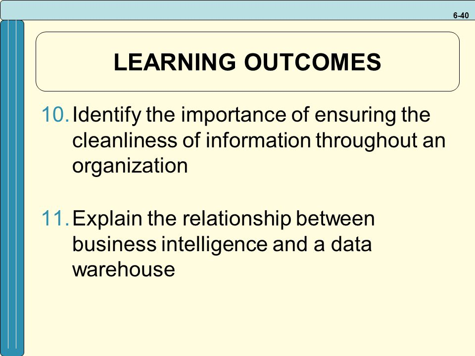 LEARNING OUTCOMES Identify the importance of ensuring the cleanliness of information throughout an organization.