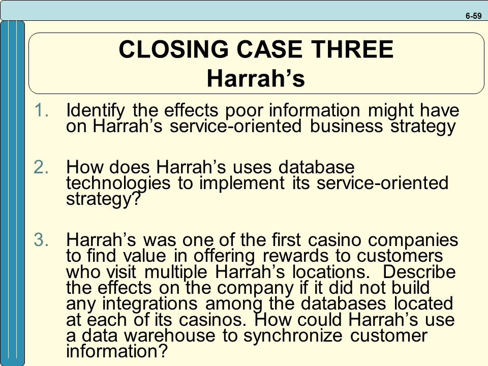 CLOSING CASE THREE Harrah's