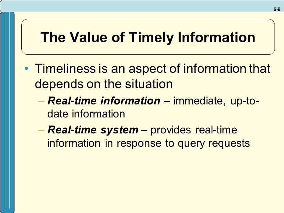The Value of Timely Information