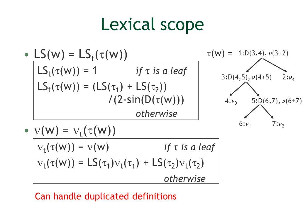 Lexical scope LS(w) = LSt((w)) (w) = t((w))