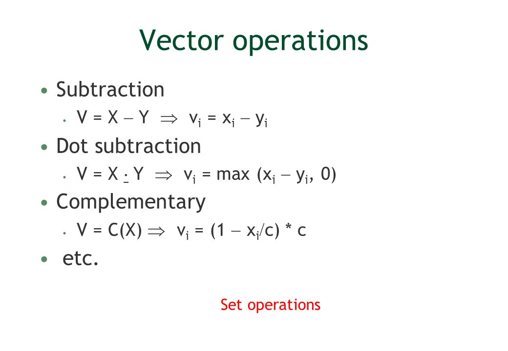 Vector operations Subtraction Dot subtraction Complementary etc.