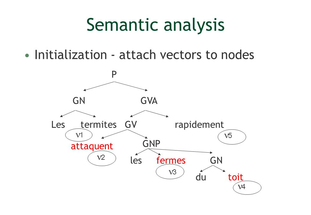 Semantic analysis Initialization - attach vectors to nodes P GN GVA